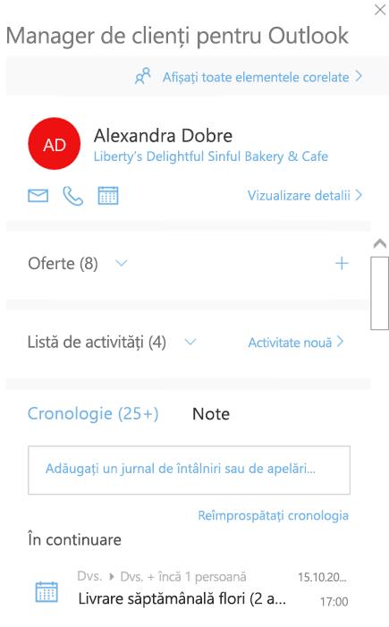Ecran de întâmpinare în Managerul de clienți pentru Outlook
