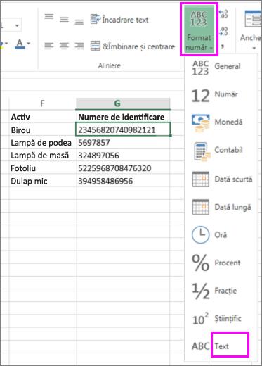 aplicarea formatului text la numere