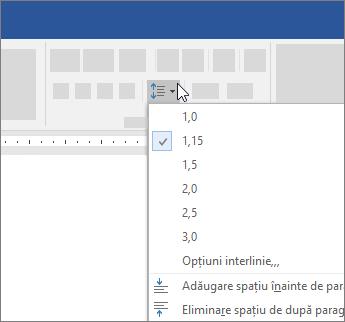 Opțiuni pentru a modifica spațierea liniilor în Word