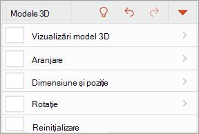 Captură de ecran a meniului modele 3D