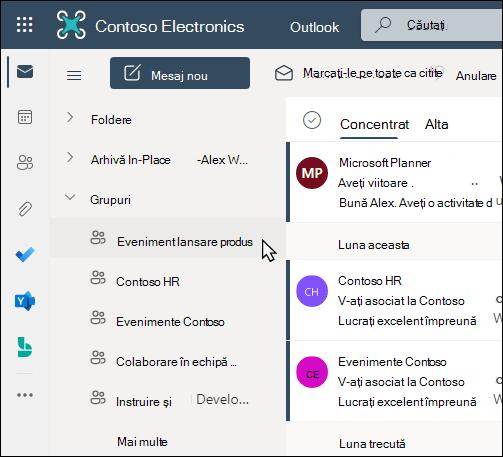 Grupuri Office 365 în Outlook