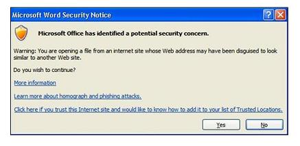Mesaj Outlook când se face clic pe un link către un site suspect