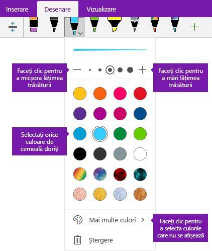 Contur lățime și culoarea opțiuni pentru cerneală în OneNote pentru Windows 10