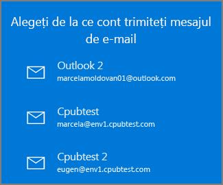 Alegeți un cont de la care să trimiteți un e-mail