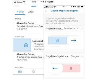 Inbox cu acțiune de tragere cu degetul din partea stângă pentru marcare drept citit și caseta de dialog Opțiuni de tragere cu degetul spre stânga