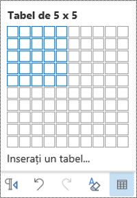 Grilă de tabel în Outlook pe web.