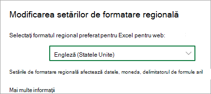 Modificarea setărilor de format regional