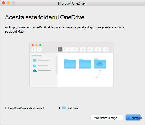 Captură de ecran cu pagina Acesta este folderul dvs. OneDrive din expertul Bun venit la OneDrive, pe un Mac