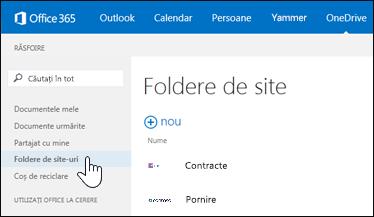 Selectați folderele de site pentru a găsi site-urile care le urmăriți și care conțin biblioteci de documente