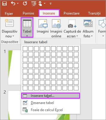 Afișează opțiunea Tabel din fila Inserare pe panglica din PowerPoint