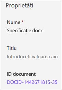 ID document afișat în panoul de detalii