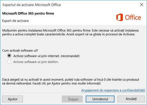 Afișează Expertul de activare pentru Office 365 pentru firme