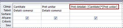 Utilizarea unei expresii pentru crearea unui câmp calculat într-o interogare.