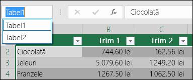 Bara de adrese Excel din partea stângă a barei de formule