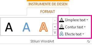 Grupul Stiluri WordArt de pe fila Format Instrumente de desen