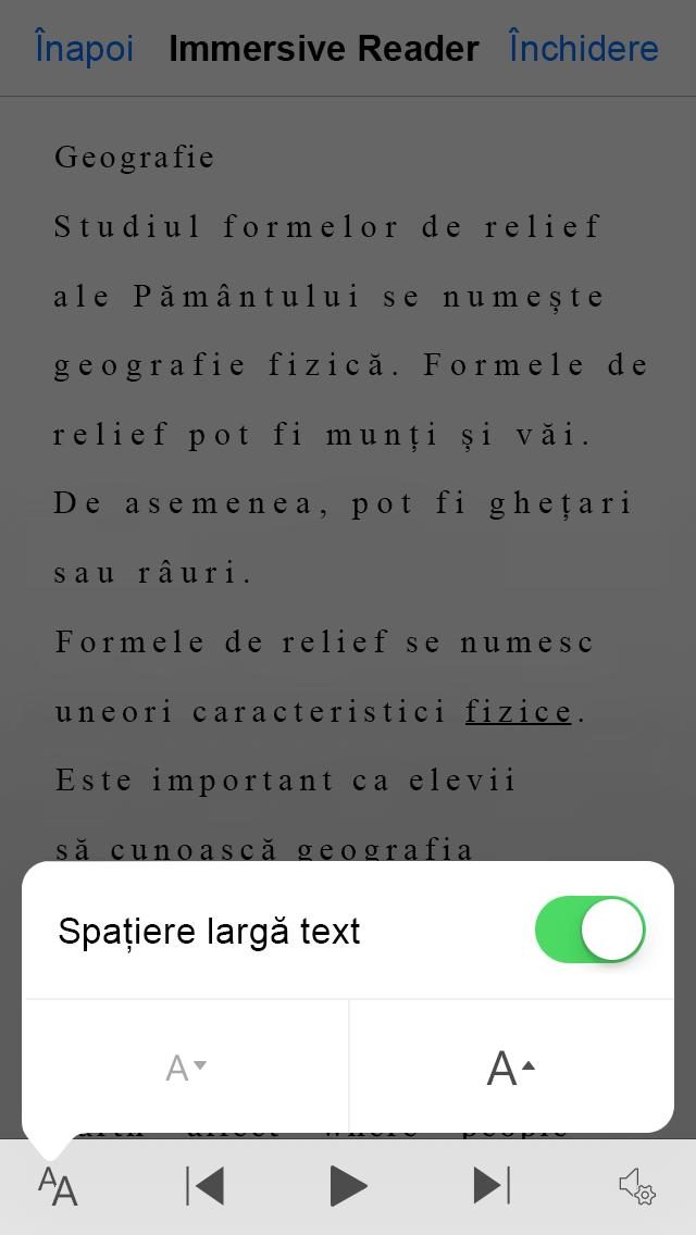 Captură de ecran a setării de spațiere a textului din Office Lens Wide.