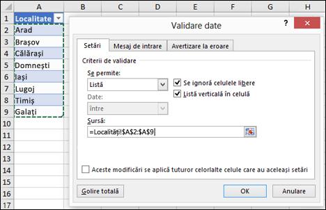 Selecție sursă de Validare date