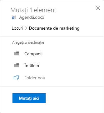 Captură de ecran a mutarea unui fișier din OneDrive pentru Business într-un site SharePoint