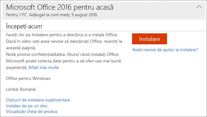 Afișează linkul Vizualizați cheia de produs pentru o instalare unică de Office