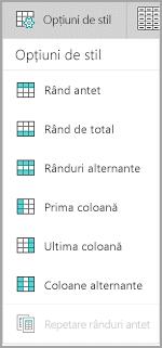 Windows Mobile Opțiuni stil tabel