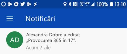 Primiți notificări în centrul de notificare Android atunci când colleages editarea fișierelor partajate