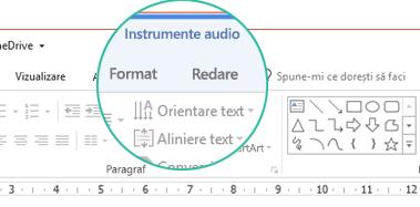 """Atunci când este selectat un clip audio într-un diapozitiv, în bara de instrumente din panglică apare secțiunea """"Instrumente audio"""", care conține două file: Format și Redare."""
