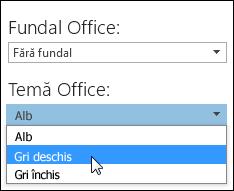 Alegeți o altă temă Office