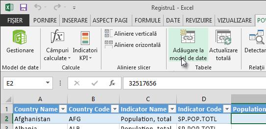 Adăuga date noi la modelul de date
