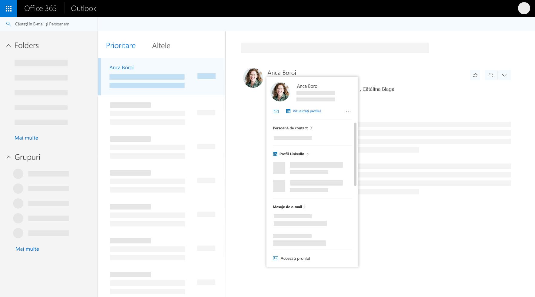 Fișa de profil în Outlook pe web