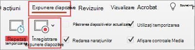 Captură de ecran cu fila Expunere diapozitive și butonul Înregistrare expunere diapozitive evidențiat