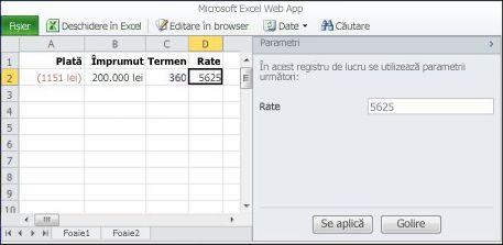 Utilizarea unui parametru în browser
