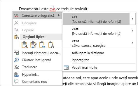 Editor utilizează Serviciile inteligente pentru a recomanda corecții de ortografie și de context.