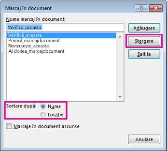 Ștergerea unui marcaj în document