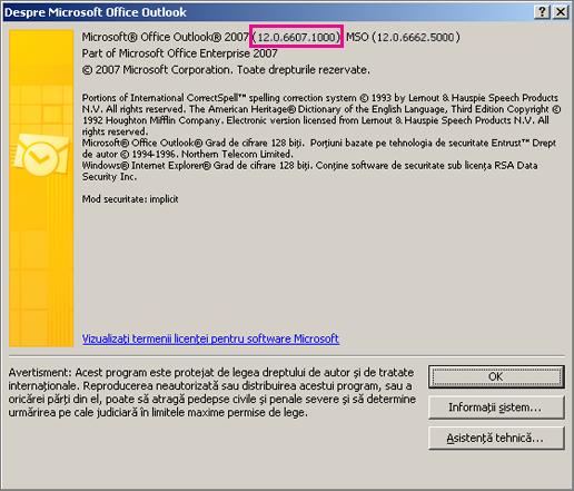 """Captură de ecran care arată unde apare numărul de versiune Outlook 2007 în caseta de dialog """"Despre Microsoft Office Outlook""""."""