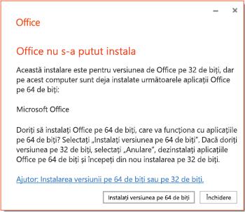 Mesaj de eroare de instalare dacă există o problemă de incompatibilitate pe 32 de biți sau 64 de biți