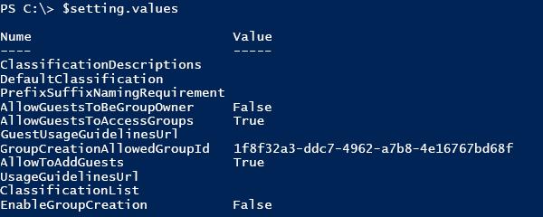 Captură de ecran a listei de valori de configurare curente