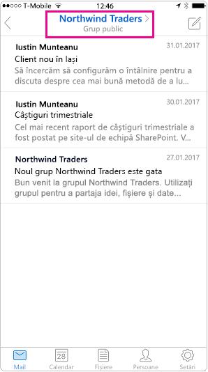 Vizualizare conversație mobilă Outlook cu antet evidențiată