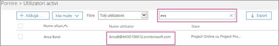 """Captura de ecran afișează o secțiune a paginii Utilizatori activi cu un termen de căutare, """"anca"""", tastat în caseta de căutare de lângă opțiunea Filtre, care este setată la Toți utilizatorii. Mai jos apar numele afișat complet și numele de utilizator."""