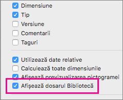 Afișați setările pentru fișierele de bibliotecă în opțiunile de vizualizare ale Instrumentului de găsire