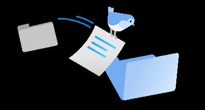 O pasăre mergând pe un document dintr-un folder în altul