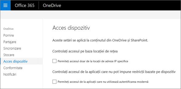 Pe fila dispozitiv de acces din centrul de administrare OneDrive