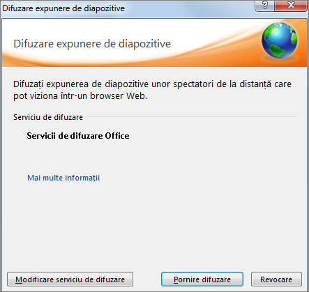 Afișează caseta de dialog Difuzare expunere de diapozitive în PowerPoint 2010
