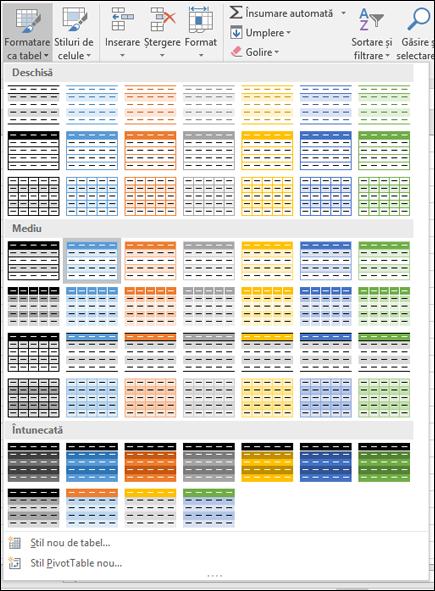 Galeria de stiluri de tabel Excel