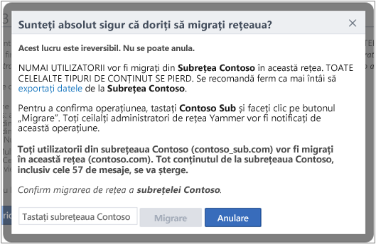 Screen shot of dialog box to Confirm that you want to migrate a Yammer network