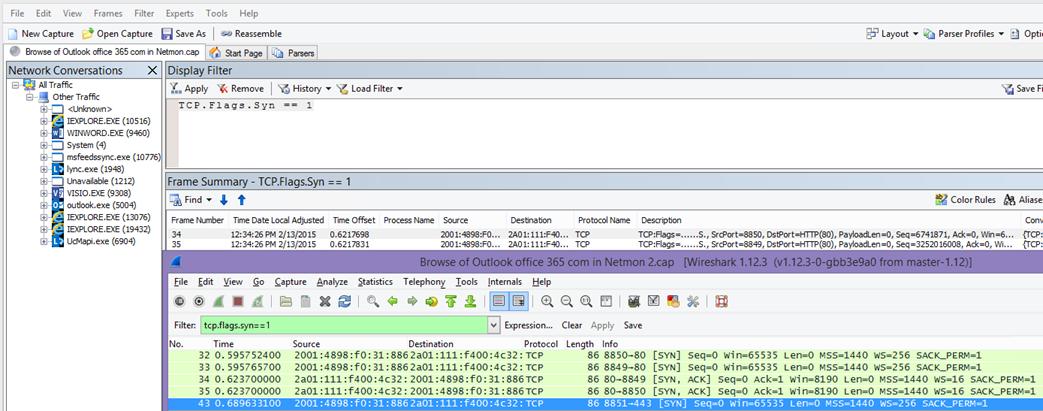 Filtrarea în Netmon sau Wireshark pentru pachetele Syn pentru ambele instrumente: TCP.Flags.Syn == 1.
