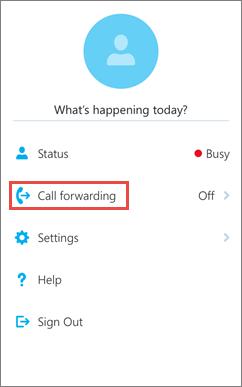 Skype for Business pentru iOS ecranul de pornire opțiunea de redirecționare a apelurilor
