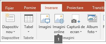 Captură de ecran cu adăugarea de imagini online în aplicațiile Office.