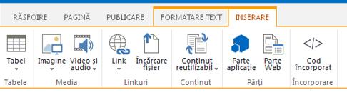 Captură de ecran de pe fila Inserare, care conține butoane pentru a insera tabele, fișiere video, grafice și linkuri în paginile site-ului