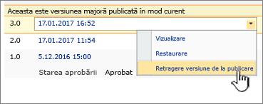 Fișier publicate vertical cu retragere publicare această versiune opțiunea evidențiată