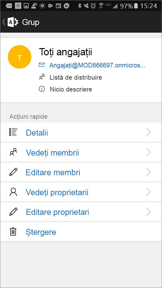 Selectați grupul din aplicația de administrare Office 365 pentru a edita detaliile, cum ar fi calitatea de membru sau proprietari.